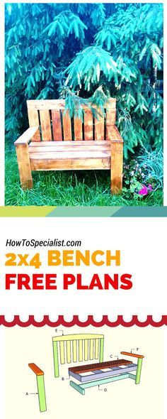 How to build a 2x4 garden bench - Easy to follow free plans, ideas and instructions for your to make an outdoor bench from 2x4s! Free plans at www.howtospecialist.com #bench #outdoorfurniture #2x4