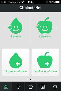 So sieht aktuell der Startbildschirm von #Cholesterini aus. Sind alle Werte in Ordnung bleiben die Grafiken grün. Wenn #Blutwerte oder die #Ernährung einen Grenzwert überschreiten, wird der entsprechende Smiley rot.  So hat der Nutzer immer gleich beim Start den optimalen Überblick!