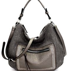 90ad4acdc3fc Front view metallic pewter crochet hobo handbag w studded zip front pocket