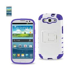 Reiko Samsung Galaxy S3 Hybrid Heavy Duty Case With Horizontal Kickstand In White Purple //Price: $18.99 & FREE Shipping //     #mobileaccessories #phonecases