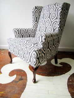 We just finished up a client's vintage wing back chair in Katherine Rally's Turkish Eye textile in Castle Grey.