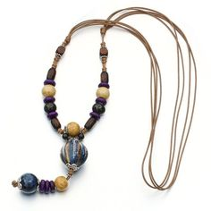 Tribal Fashion Ceramic Beads Wood Pendant Sweater Chain Necklace