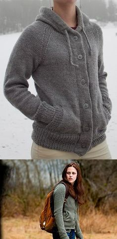 Free Knitting Pattern for Twilight New Moon Bella Hooded Cardigan - Nancy Fry's sweater is modeled after the hoodie worn by Bella in the movie New Moon. Available in Small, Medium and Large. Pictured project by SofieGranholm