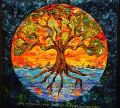 A Tree of Life by Lin Schiffner (Sacred Threads exhibit) at Denver National Quiltfest 2014 #quilt #quilting #art