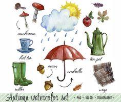 50% OFF SALE Autumn clip art Watercolor clip art by ClipArtelier