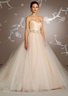 Lazaro's gown No. 3108 with sweetheart neckline, jeweled flower belt, priced at $3,630.