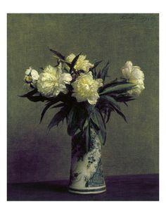 Henri Fantin-Latour, my favorite artist. Luminous flowers, peonies and roses and beautiful vases and crystal