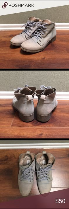 Distressed Leather Booties Steve Madden Distressed leather booties. These are a soft leather with laces and in good condition. Leather upper, leather lining, and rubber sole. Steve Madden Shoes Ankle Boots & Booties