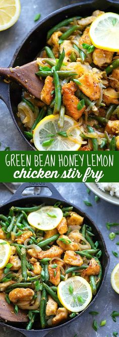 Bright and flavorful lemon chicken stir fry is dressed up with a zingy honey lemon sauce and tons of tender green beans for a quick and healthy weeknight dinner! Best Healthy Dinner Recipes, Healthy Weeknight Dinners, Vegetarian Recipes, Summer Recipes, Cooking Recipes, Lemon Chicken Stir Fry, Honey Lemon Chicken, The Fresh, Fresh Green