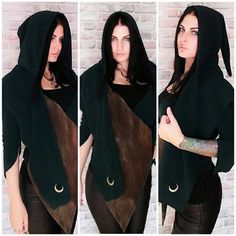 Pagan Fashion, Mori Fashion, Triple Goddess, Moon Goddess, Witchy Clothing, Elf Ranger, Autumn Witch, Pixie Outfit, Gothic Jackets
