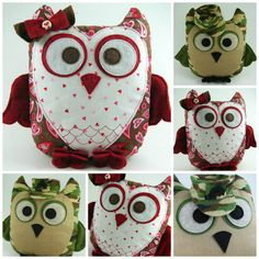 2 Owl Pillow Sewing Patterns ... Sweetheart Owl and Sgt Owl ... Get both versions
