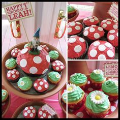 Garden gnome themed cupcakes and cake by Cupcake Crusaders.