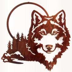 "20"" Wolf and Moon Wall Art www.rusticeditions.com"