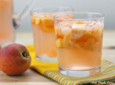 Peach Grapefruit Sangria: 1 bottle white wine (go for something light and fruity) 2 cups peaches, diced grapefruit, diced 1 cups peach soda or ginger ale cup sugar + cup water (optional) Party Drinks, Cocktail Drinks, Fun Drinks, Cocktail Recipes, Alcoholic Drinks, Cocktails, Beverages, Drink Recipes, Fruit Recipes