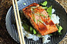 Honey-Teriyaki Glazed Salmon w. Stir-Fry Veggies