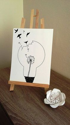 """Poster Illustration Schwarz-Weiß-Zwiebel """"Löwenzahn"""" – Kelly South – Join the world of pin Light Bulb Drawing, Light Bulb Art, Realistic Drawings, Colorful Drawings, Watercolor Paper, Watercolor Flowers, Pencil Drawings, Art Drawings, Black And White Drawing"""