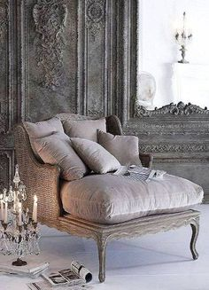"A chaise with a candelabra next to it- I would be so effing dramatic for no reason at all."" RUN TO MY CHAISE. French Country House, French Country Decorating, French Cottage, Modern French Decor, Cottage Pie, Rustic Cottage, Modern Country, Rustic Modern, Country Chic"