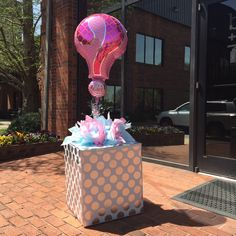 b+B sales representatives Cortney and Samantha made this adorable mystery balloon box for a friend's gender reveal party.  #baby #burtonandburton