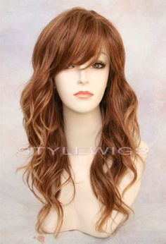 Long Natural Wavy w Bangs Red Auburn Mix 3 Tones Wig Tipp 30 130 146 | eBay