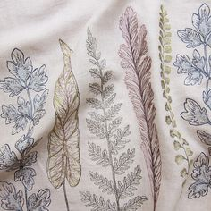 Coral & Tusk - Plants Border - Embroidered Fabric Yardage