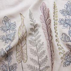 Coral & Tusk - Plants Border - Embroidered Fabric Yardage