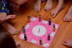 """Spin the Bottle"" Game for what colour to paint hands and toes...so doing this--or at least try--they are 2-4 year olds after all"