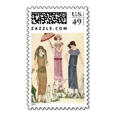 Illustration of Women in 1920s Fashion Postage Stamp