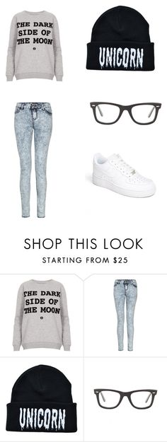 """""""Cute Nerd"""" by swaggmaster1994 ❤ liked on Polyvore featuring Topshop, Ray-Ban and NIKE"""