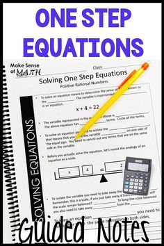 Solving One Step Equations Guided Notes - Solving One Step Equations Notes 6th Grade Math Games, Seventh Grade Math, Algebra Games, Special Education Math, Math Education, Elementary Education, Learning Fractions, Simplifying Expressions, One Step Equations