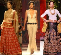 Monisha Jaising recreated the Paris street and café where artists sit and paint beautiful pictures on the ramp to show case her World Bride collection. Her outfits included saris, ballroom gowns and dresses. Lisa Hayden walked the ramp as a showstopper wearing leather lehenga with gold embroidery and a white shirt. http://fashiontrendsandtipsblog.wordpress.com/2014/07/24/india-couture-week-2014/