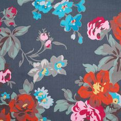 Charcoal Floral Printed Cotton Sateen - Sateen - Cotton - Fashion Fabrics