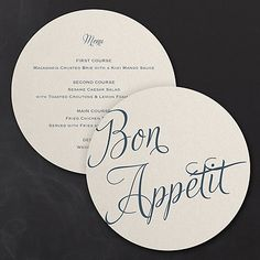 """Distinctive Impressions Circle Menu Want to make a great impression? Go for the distinctive wedding details! Unique, round menu cards wish your guests """"Bon Appétit"""" and """"wow"""" them with the cuisine list!"""