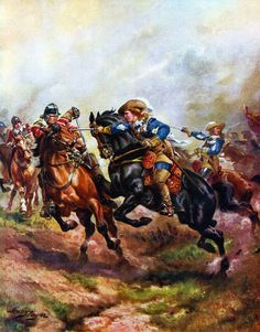 The Royalist cavalry attacking at the Battle of Edgehill, 23rd October 1642: picture by Harry Payne