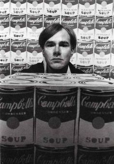 DUANE MICHALS-    Warhol with 200 Campbell's Soup Cans and Campbell's Soup Box, c.1962