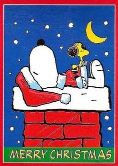 SNOOPY ON CHIMNEY CHRISTMAS Flag: Snoopn4pnuts.com