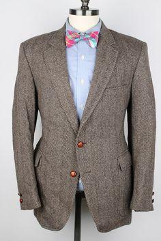 Vtg TWEED Brown Herringbone Leather Like Buttons by ThePlaidBowTie