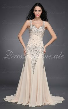 Champagne A-line Floor-length Shoulder Straps dress Shop Online - 4p100 - skup120829022