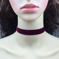 ヴィンテージsteampunkブルゴーニュベルベットchoker necklace-18mmワインレッド平野ベルベットで銀クラスプ閉鎖手作りシンプルなジュエリー