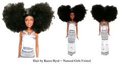 Curly Afro puffs doll. Hair by Karen Byrd. Natural Girls United. www.naturalgirlsunited.com