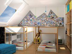 chambre enfants, Appartement vacances, lits Ikea,image virtuelle 3d