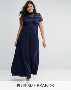 Chi Chi London Plus 2 in 1 High Neck Maxi Dress with Crochet Lace 302d1c60a