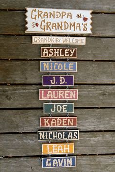 Grandpa and Grandma's carved personalized wood sign with Grandchildren for base sign) for Gr/kids for each add-on name) Cricut, Wood Projects, Craft Projects, Woodworking Projects, Grands Parents, Grandchildren, Grandparent Gifts, Diy Signs, Homemade Gifts