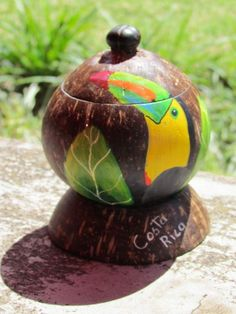 arte con cascaras de coco - Buscar con Google Dry Coconut, Coconut Shell, Leaf Crafts, Diy And Crafts, Gourds, School Projects, Wood Carving, Sea Shells, Christmas Bulbs