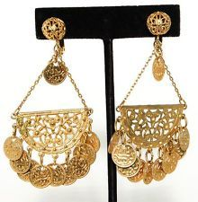 Vintage Signed Napier Middle Eastern Gold Dangling Coin Chandelier Earrings