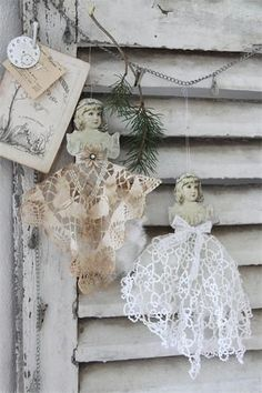 Assemblage Art * Gown Style Mini Dresses Made From Paper Cut-Outs and Vintage Laces * Perfect for Christmas Decorating!!
