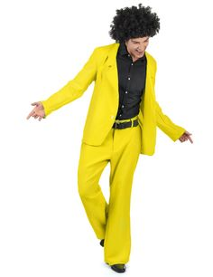 Disco-Suit Disco-Costume yellow M / lkarneval-megastore.