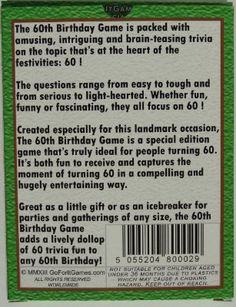 Shop The Birthday Game A Fun Gift Or Present Specially For People Turning Sixty Also Works As An Amusing Little Party Quiz Idea Icebreaker