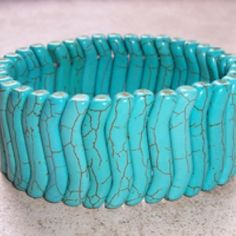 REDUCED PRICE: Bone Shell Bracelet - Turquoise at KIST Boutique, $10.50 (USD)