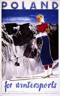 1910 Poland for wintersports Vintage Ski Poster