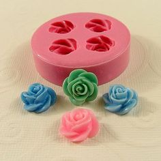 Rose Flower Cabochon Mold Flexible Silicone Mold Mould  for Crafts Jewelry Scrapbooking resin sculpey fimo  polymer clay (13mm) (222). $6.50, via Etsy.